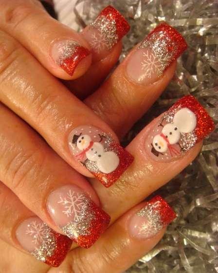 Фото с рисунками новогодними на ногтях