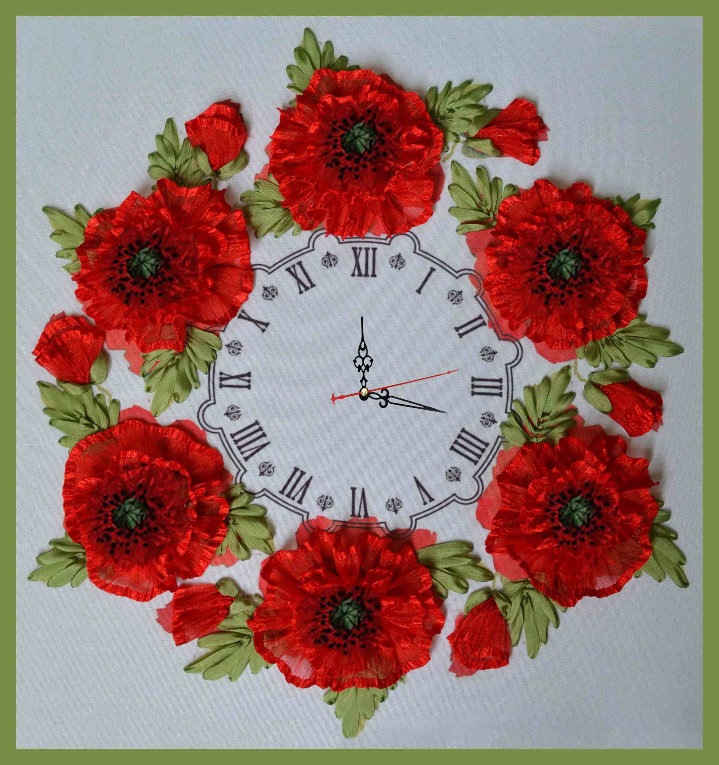 Часы с цветами своими руками 764